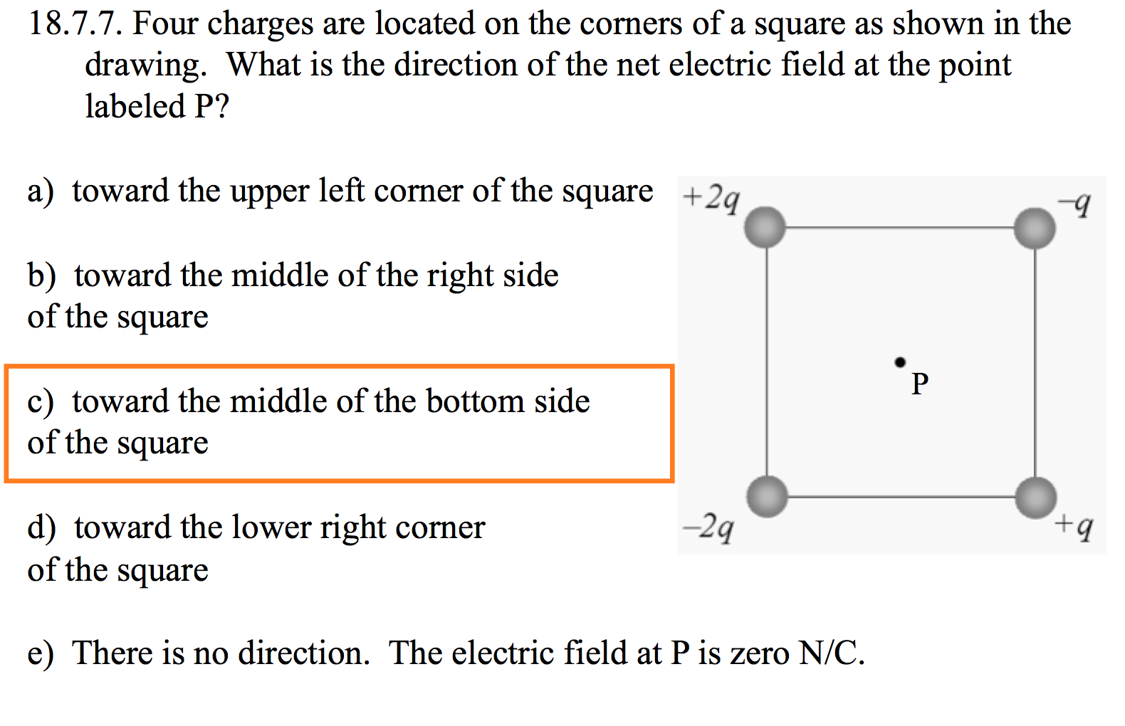 what is the electric field at point p