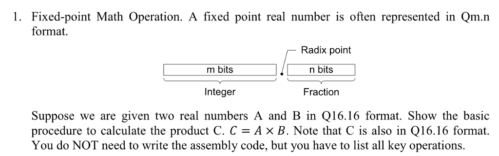 Solved 1 Fixed Point Math Operation A Fixed Point Real