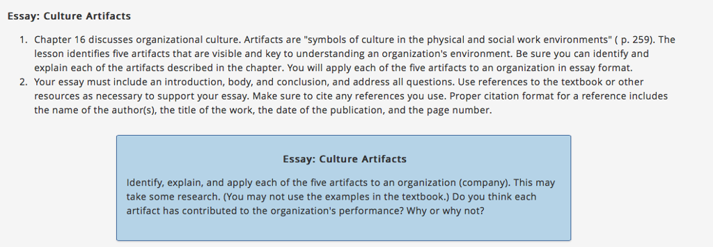 Solved Essay Culture Artifacts Chapter 16 Discusses Orga