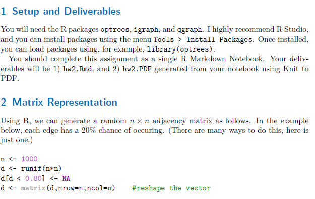 1 Setup And Deliverables You Will Need The R Packa    | Chegg com