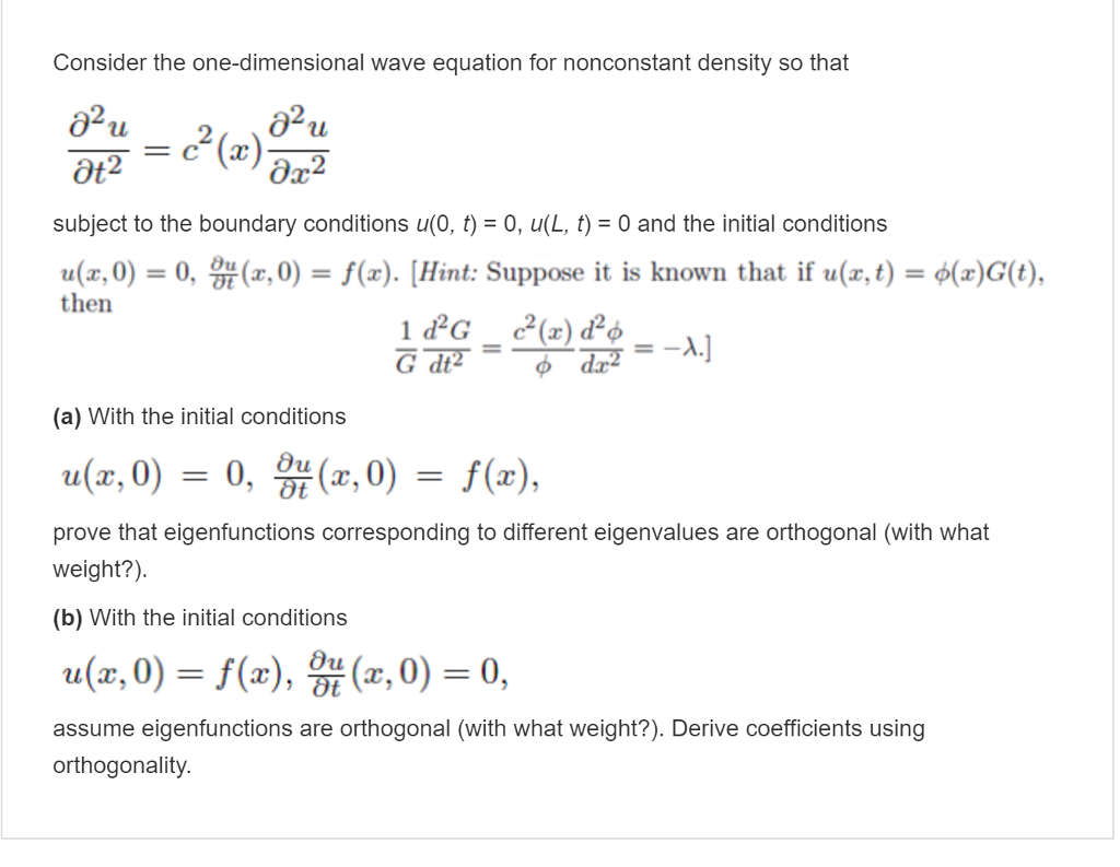 Solved: Consider The One-dimensional Wave Equation For Non