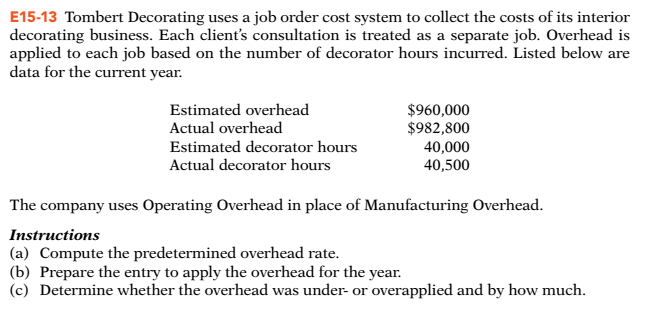E Tombert Decorating Uses A Job Order Cost System To Collect The Costs Of  With Interior Decorator Cost.