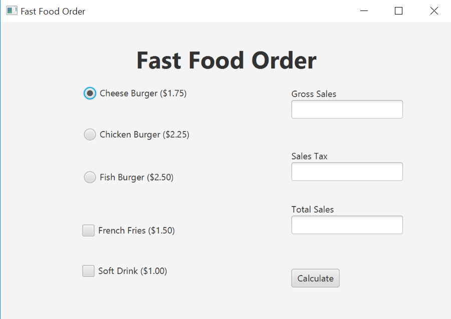fast food order fast food order cheese burger 175 gross sales chicken burger