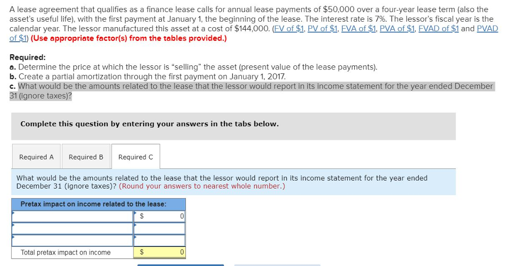Solved A Lease Agreement That Qualifies As A Finance Leas