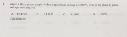 Electrical engineering archive december 12 2017 chegg 1 given a three phase supply with a single phase voltage of 2400v what greentooth Images