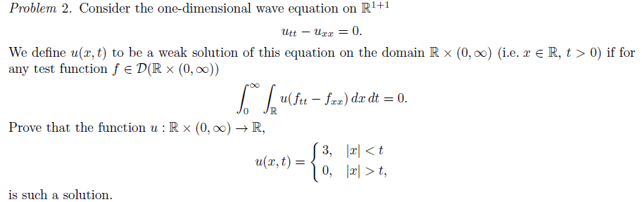 Solved: Consider The One-dimensional Wave Equation On R^1+