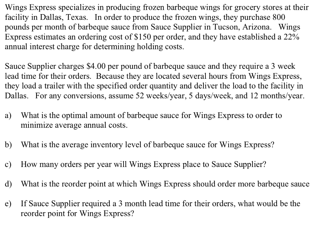 Solved: Wings Express Specializes In Producing Frozen Barb