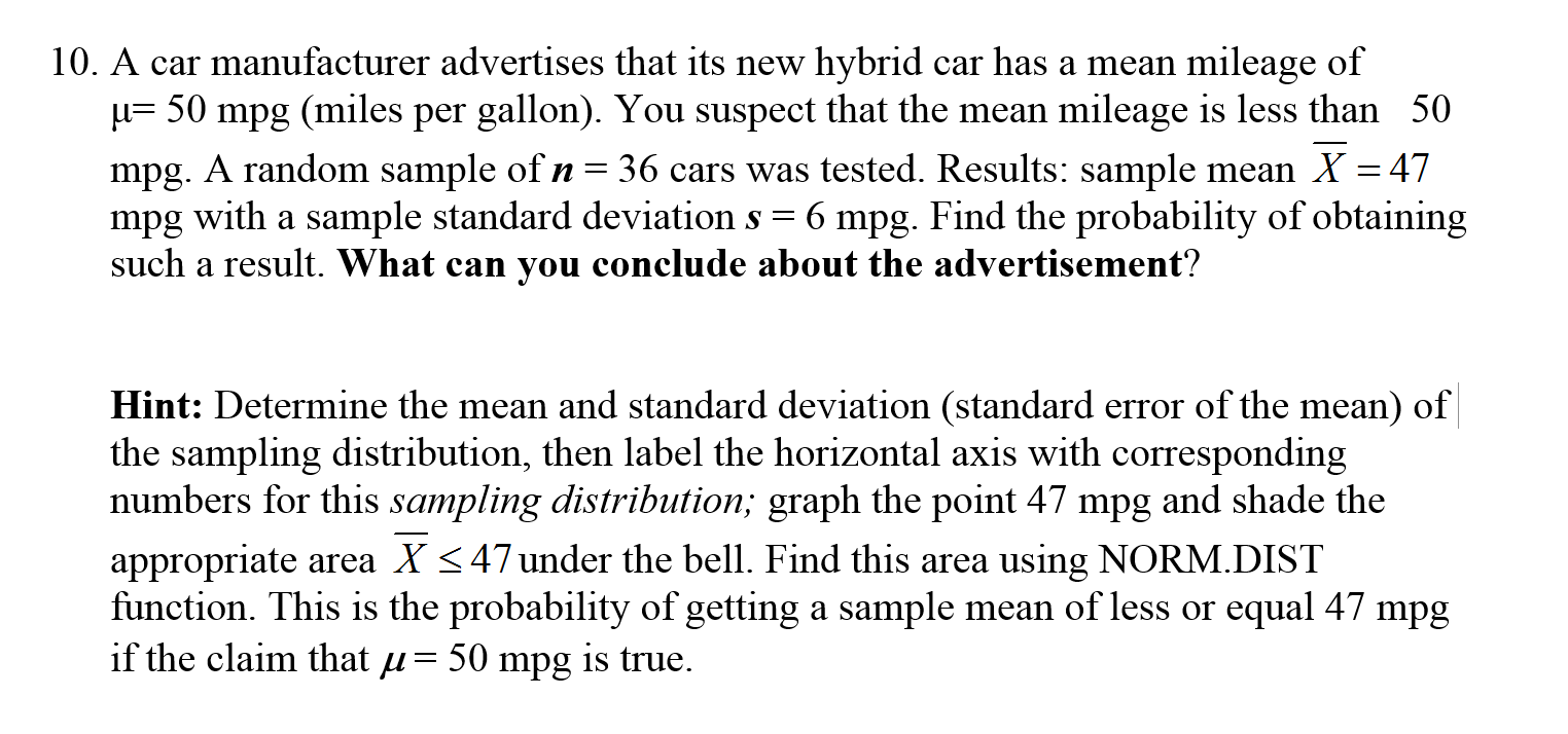 statistics and probability archive com a car manufacturer advertises that its new hybrid