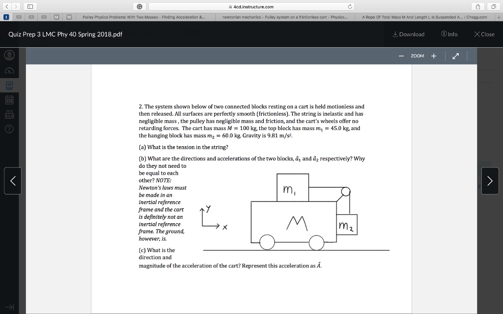 Solved: ー4cd instructure com AaM W Pulley Physics Problem