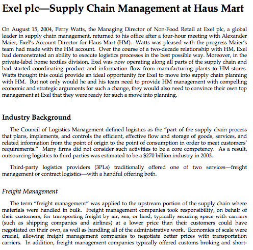 exel plc supply chain management at haus mart solution