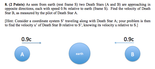 Solved: As Seen From Earth (rest Frame S) Two Death Stars ...