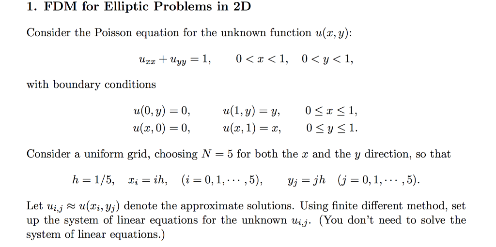Solved: FDM For Elliptic Problems In 2D Consider The Poiss