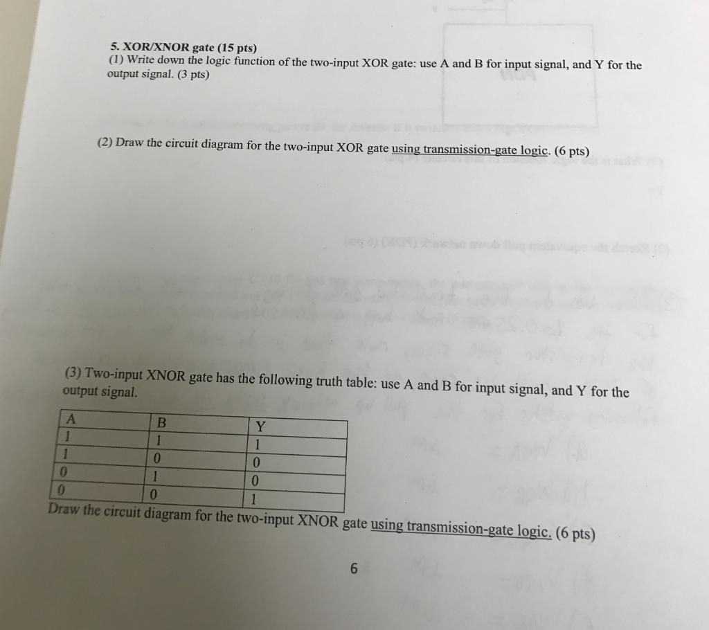 XOR/XNOR gate (15 pts) (1) Write down the