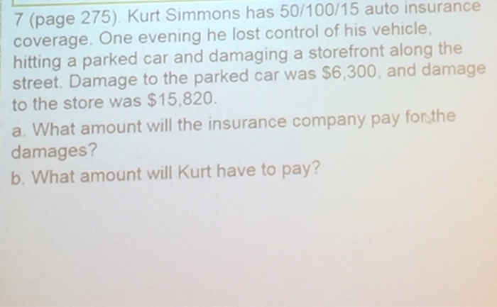 Solved Kurt Simmons Has 50 100 15 Auto Insurance Coverage Chegg Com