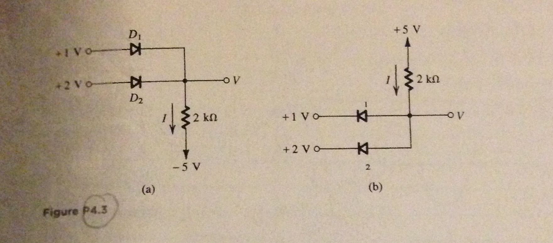 Solved Figure P43 For The Circuits Shown In Figure43 Diagram Complete Wiring Of Circuit Is Below Using Ideal Di