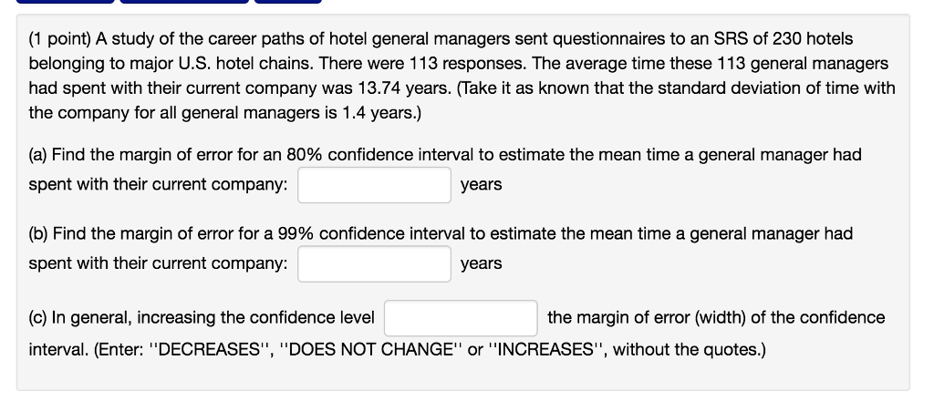 Solved: (1 Point) A Study Of The Career Paths Of Hotel Gen