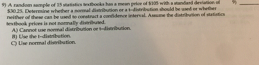 Solved: 9) A Random Sample Of 15 Statistics Textbooks Has