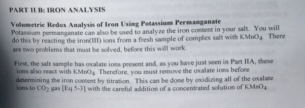 determination of oxalate with potassium permanganate