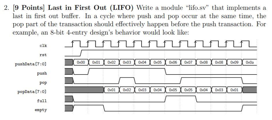 Solved: Module Lifo #( Parameter Int BW , Parameter Int EC