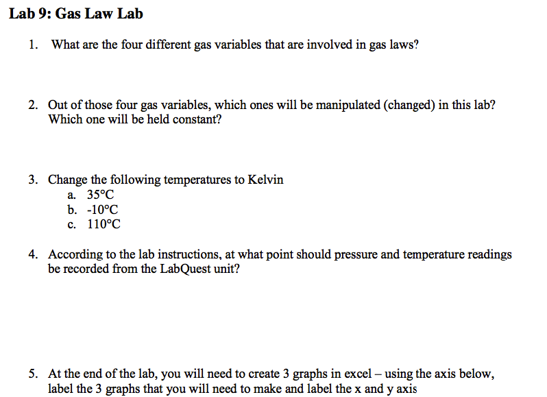 gas laws lab 2 essay Chemistry 1061: principles of chemistry i gas laws 12 repeat steps 1-10 again, except set the initial reading of the plunger to 5 2 the capacity of the.