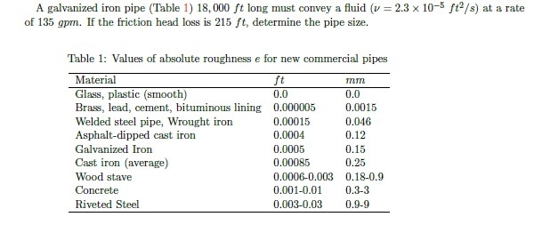 ... image text A galvanized iron pipe (Table 1) 18000 ft long must convey a fluid (v u003d 2.3 x 10^-5 ft^2/s) at a rate of 135 gpm. If the friction head loss ...  sc 1 st  Chegg & Solved: A Galvanized Iron Pipe (Table 1) 18000 Ft Long Mu ...