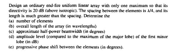 Solved: Design An Ordinary End-fire Uniform Linear Array W
