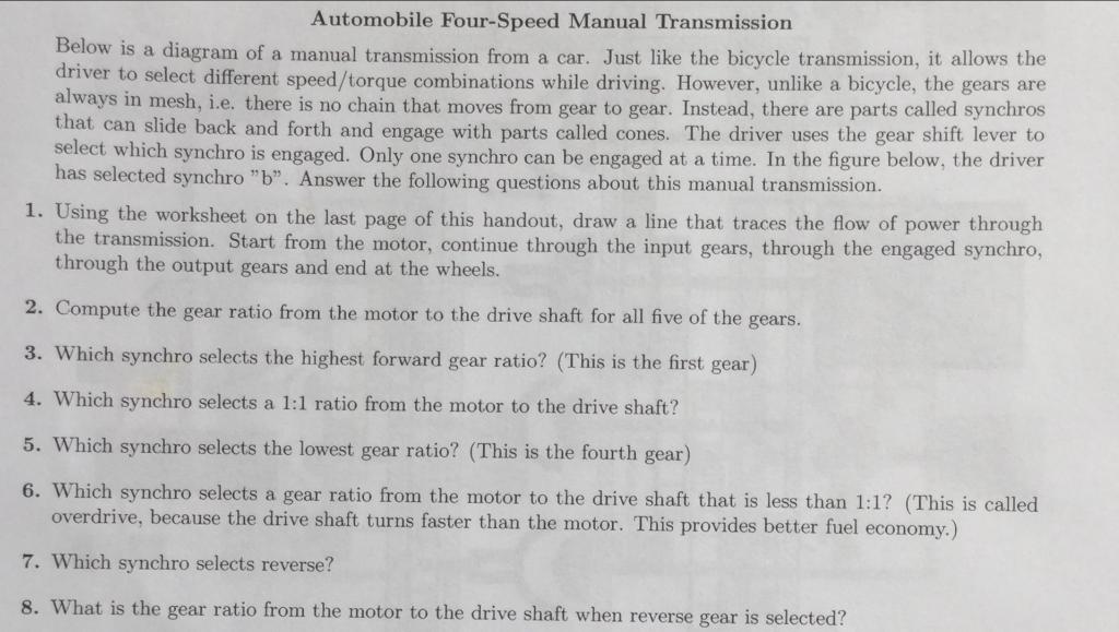 automobile four speed manual transmission w is a d chegg com rh chegg com Algebra Worksheets with Answers Biology Worksheets with Answers