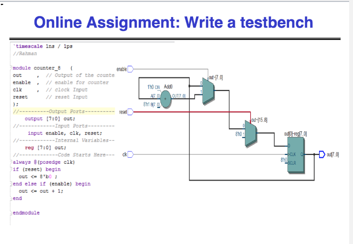 Solved: Online Assignment: Write A Testbench Timescale Ins