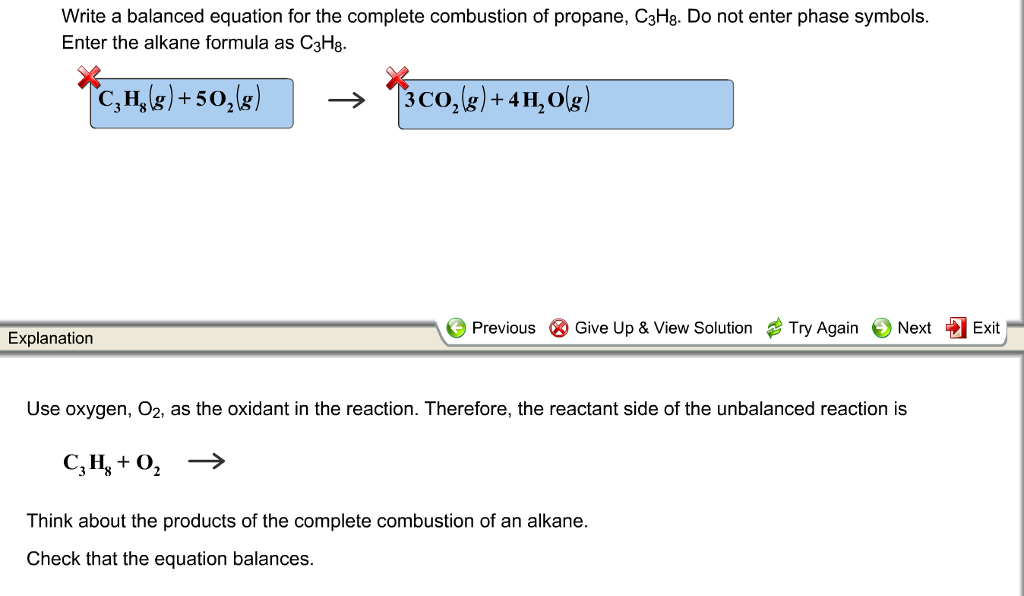 Solved Write A Balanced Equation For The Complete Combust