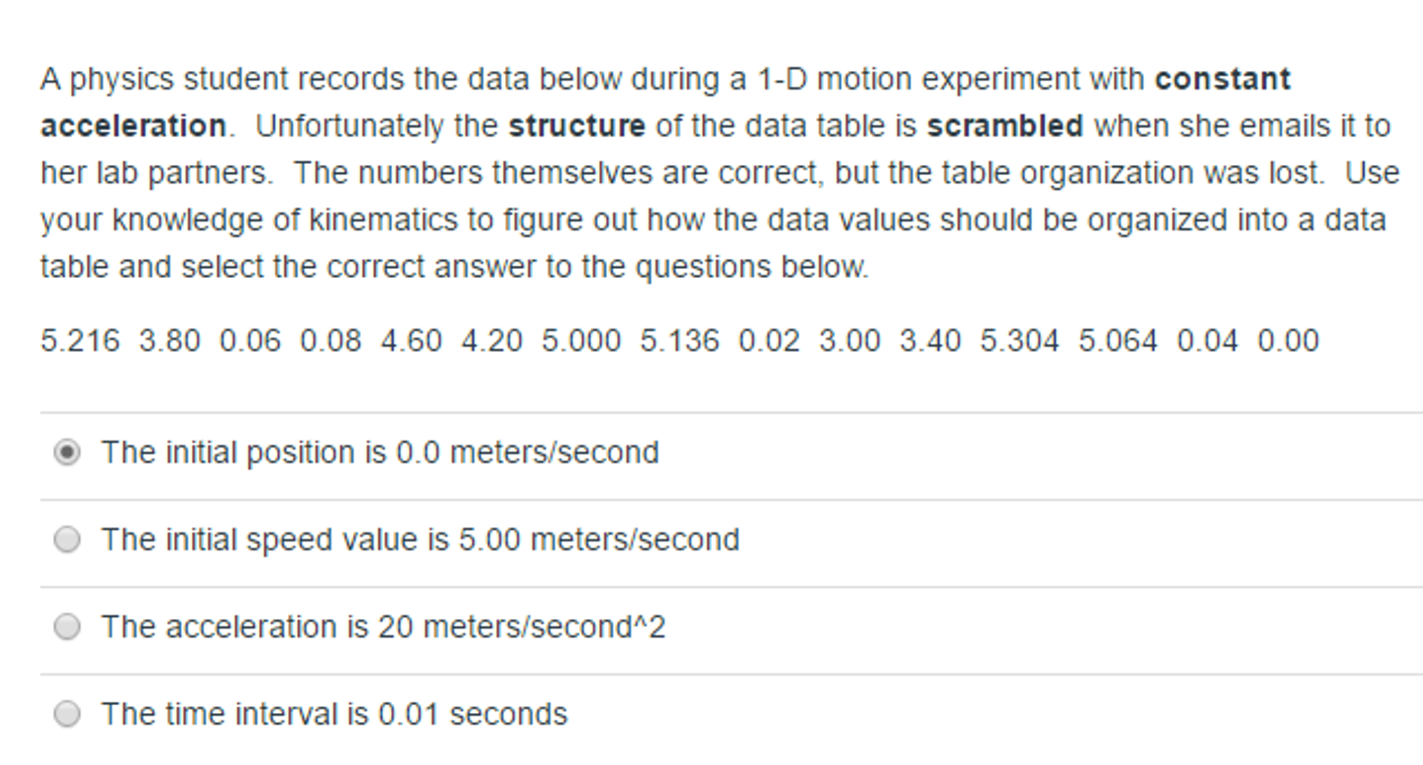 motion with constant acceleration lab answers