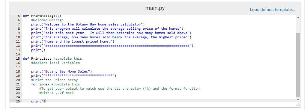 solved output welcome to the botany bay home sales calcul