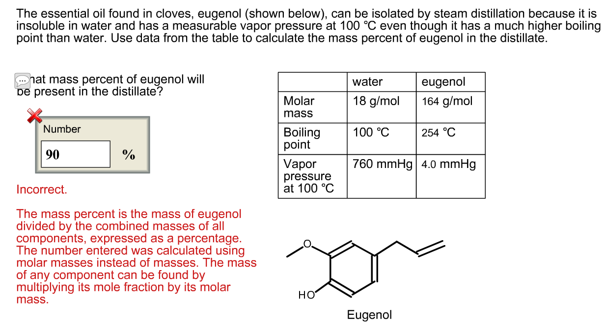 steam distillation eugenol cloves Description the distillate from the steam distillation of cloves contains both water and eugenol the eugenol must be extracted from the water using an organic solvent.