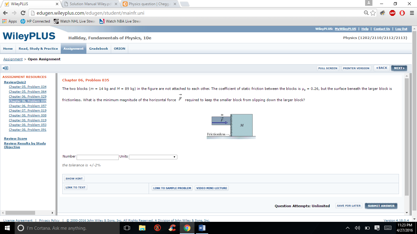 OC Wiley PLUS Solution Manual Wiley pol X Physics