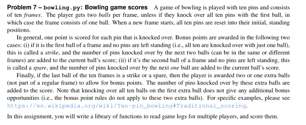 Solved: Problem 7 - Bowling.py: Bowling Game Scores A Game ...