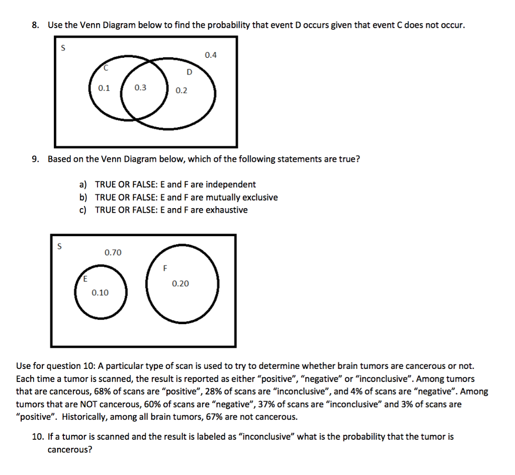 Solved  8  Use The Venn Diagram Below To Find The Probabil