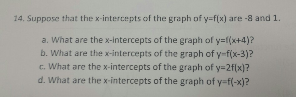 Image for 14. Suppose that the x-intercepts of the graph of y=f(x) are -8 and 1. a. What are the x-intercepts of the gra