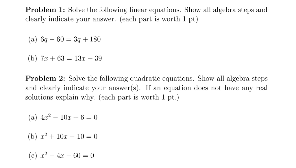 Solved: Problem 1: Solve The Following Linear Equations  S