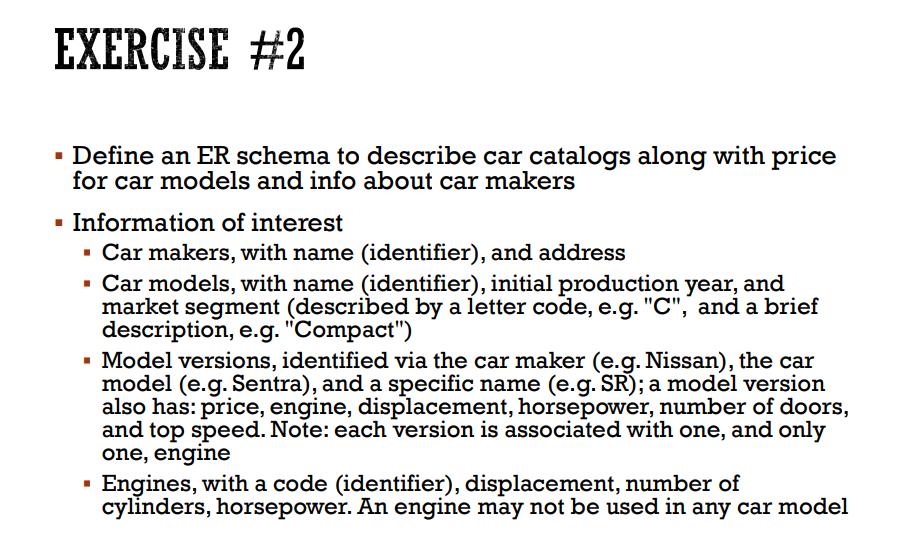 Solved Exercise 2 Define An Er Schema To Describe Car