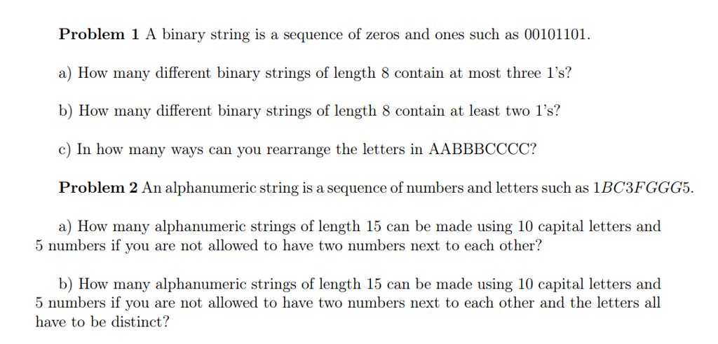 A Binary String Is A Sequence Zeros And es Su