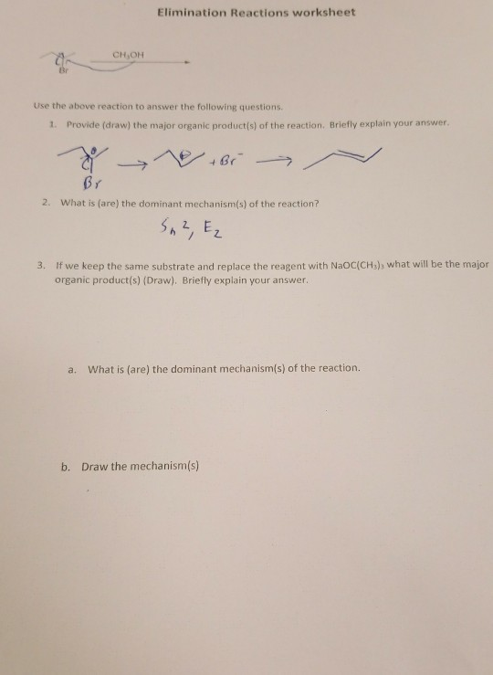 Solved: Elimination Reactions Worksheet CH OH Use The Abov ...