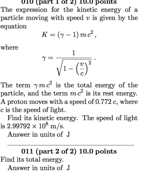 Solved: The Expression For The Kinetic Energy Of A Particl