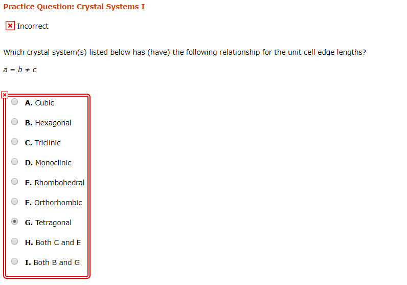 Solved: Practice Question: Crystal Systems I Incorrect Whi