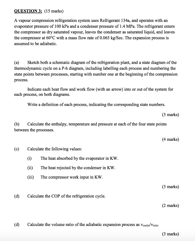 Solved  Question3   15 Marks  A Vapour Compression Refrige