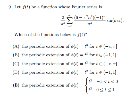 9. Let f(t) be a function whose Fourier series is 2n2)(-1)n n 3 n-1 Which of the functions below is f(t)? (A) the periodic extension of o(t) for t E (-T, T] (B) the periodic extension of o(t) for t E (-1,1] (C) the periodic extension of o(t) for t E T. T (D) the periodic extension of o(t) for t E (-1,1] 1 t 0 (E) the periodic extension of 60t)
