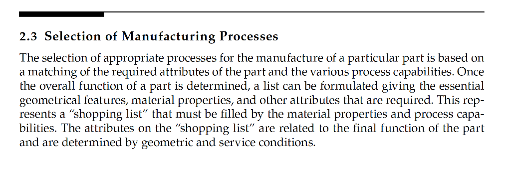 Solved: Selection Of Manufacturing Processes The Selection