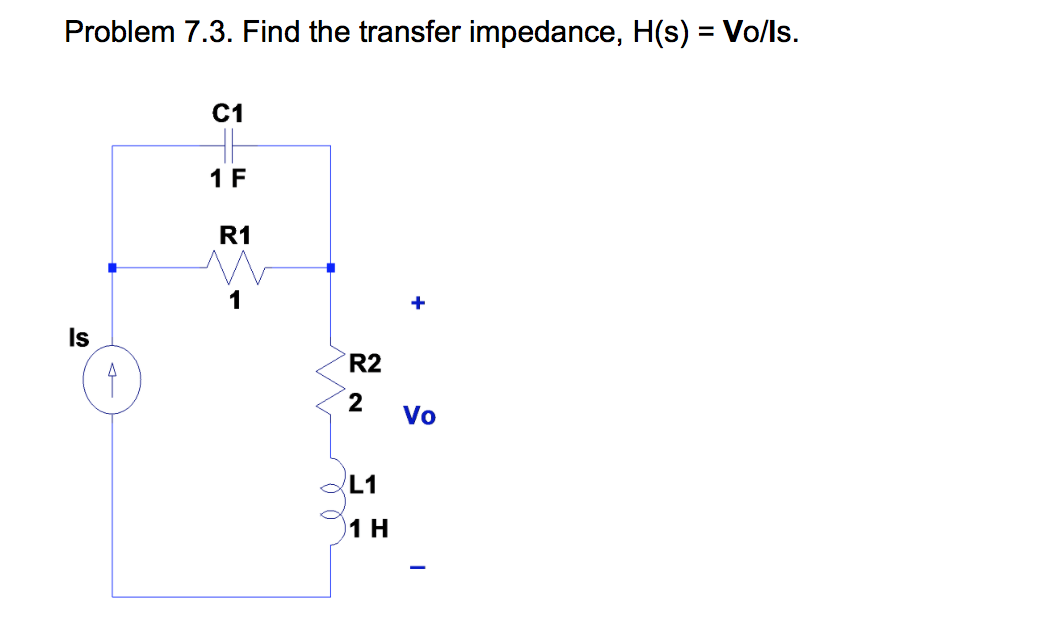 Find the transfer impedance, H(s) = Vo/ls.