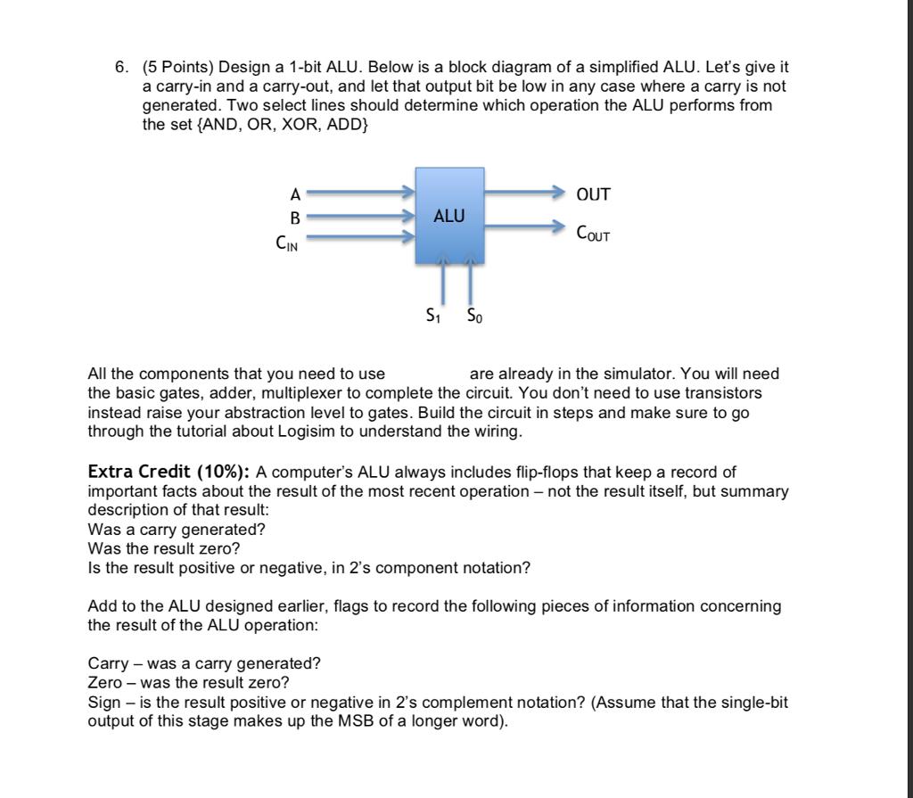 Solved 6 5 Points Design A 1 Bit Alu Below Is Block 2 S Complement Logic Diagram