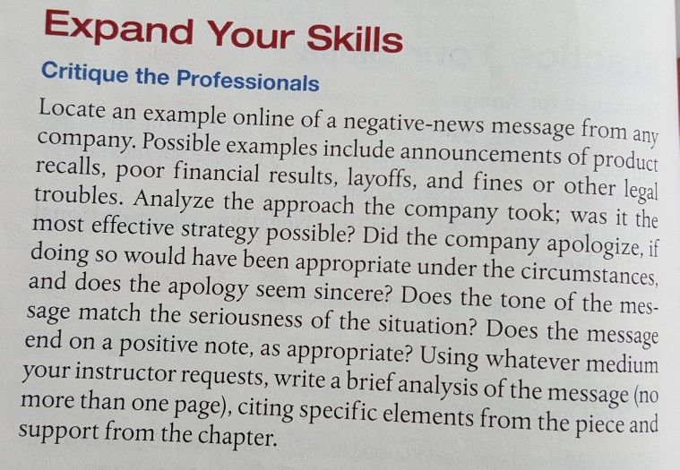 Solved: Chapter 9 Textbook Excellence In Business Communic