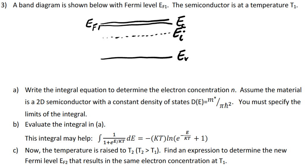 Solved 3 A Band Diagram Is Shown Below With Fermi Level