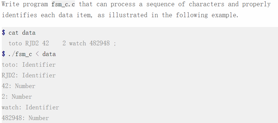 885ead87378 Write program fsm_c.c that can process a sequence of characters and properly  identifies each